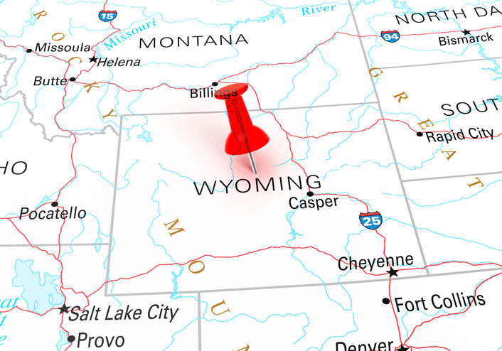 Map with thumbtack showing Wyoming